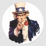 Uncle Sam Wants You! Round Sticker