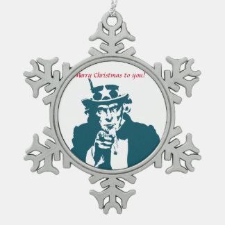 Uncle Sam wishes Pewter Snowflake Decoration