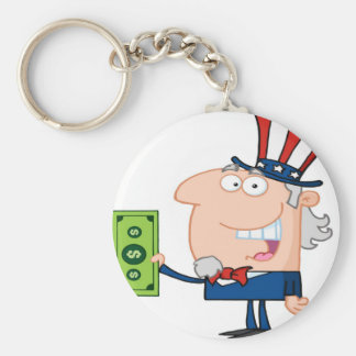 Uncle Sam With Holding A Dollar Bill Key Ring