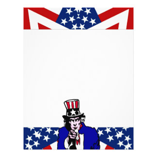 Uncle Sam with Stars & Stripes Background 21.5 Cm X 28 Cm Flyer
