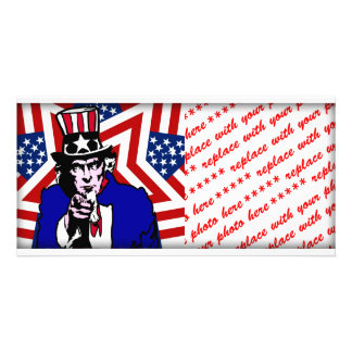 Uncle Sam with Stars & Stripes Background Personalized Photo Card