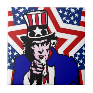 Uncle Sam with Stars & Stripes Background Small Square Tile