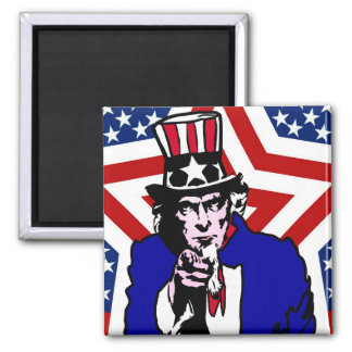 Uncle Sam with Stars & Stripes Background Square Magnet