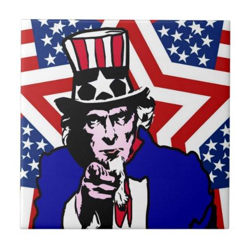 Uncle Sam with Stars & Stripes Background Ceramic Tile
