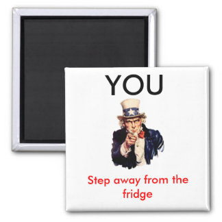 Uncle_Sam_, YOU, Step away Square Magnet
