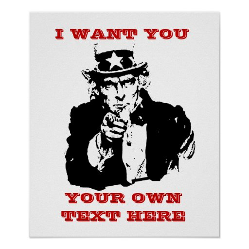 """Uncle Same Poster """"I want you"""" Custom Poster 