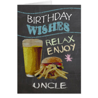 Uncle Trendy Chalk Board Effect, With Beer Burger Card