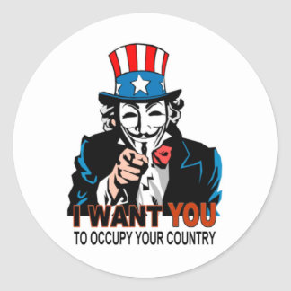 Uncle V Occupy Wall Street Round Sticker