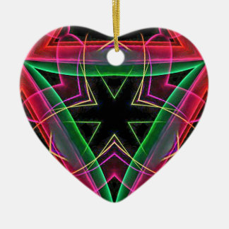 Uncommon Red Green Linear Christmas Abstract Ceramic Heart Decoration