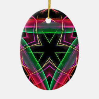 Uncommon Red Green Linear Christmas Abstract Ceramic Oval Decoration