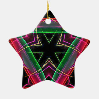 Uncommon Red Green Linear Christmas Abstract Ceramic Star Decoration