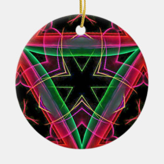 Uncommon Red Green Linear Christmas Abstract Round Ceramic Decoration