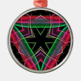 Uncommon Red Green Linear Christmas Abstract Silver-Colored Round Decoration