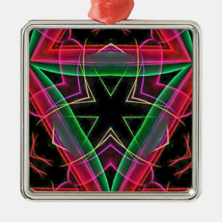 Uncommon Red Green Linear Christmas Abstract Silver-Colored Square Decoration