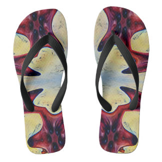 Uncommon Red Yellow Connecting Star Fish Flip Flops