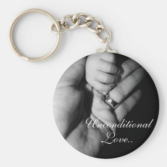 Unconditional love basic round button key ring