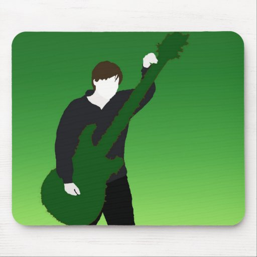 undead guitarist green mouse pads