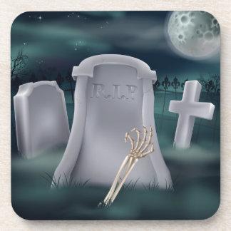 Undead skeleton hand grave drink coasters