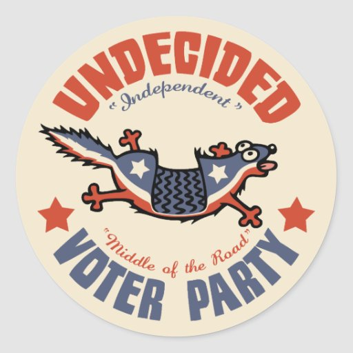 Undecided Voter Party Mascot Round Stickers
