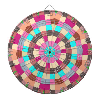 Under a parasol colorful tiles pattern dartboard with darts