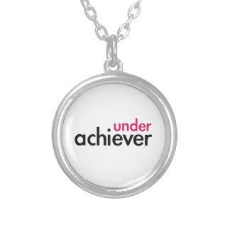 Under Achiever (the pink lazy) Round Pendant Necklace