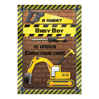 Under Construction Baby Boy Shower 13 Cm X 18 Cm Invitation Card