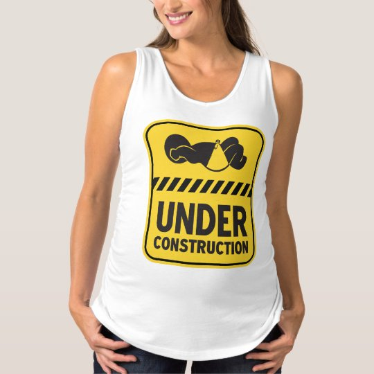 Under Construction Baby Yellow Maternity Tank Top