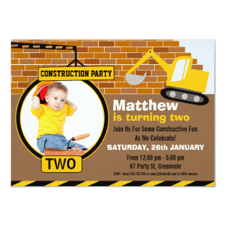 Under Construction Birthday Party Invitation