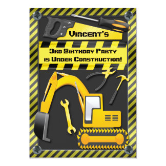 Under Construction Birthday Party Tools Diggers Card