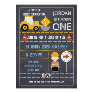 Under Construction Chalkboard Birthday Invitation