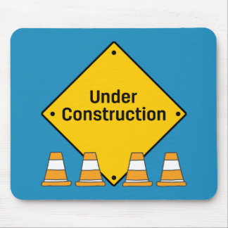 Under Construction with Cones Mouse Mat