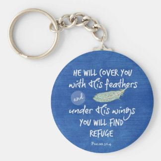 Under His Wings you will find Refuge Bible Verse Keychain