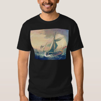 Under Rainbow Clouds Ships Sailing the Open Seas Tee Shirts