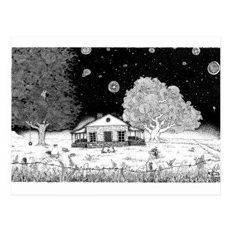 Under Stars Pen and Ink Illustration Postcard