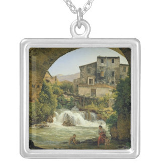 Under the arch of a bridge in Italy, 1822 Silver Plated Necklace