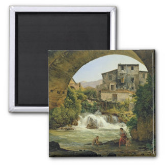 Under the arch of a bridge in Italy, 1822 Square Magnet