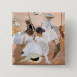 Under The Awning, On The Beach at Zarauz - Sorolla 15 Cm Square Badge
