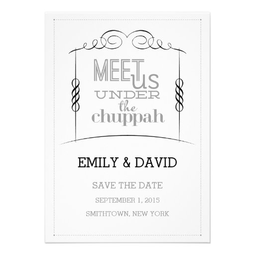 Under the Chuppah Jewish Wedding Save the Date Invitations