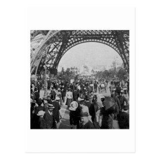 Under the Eiffel Tower 1900 Paris Exposition Postcard