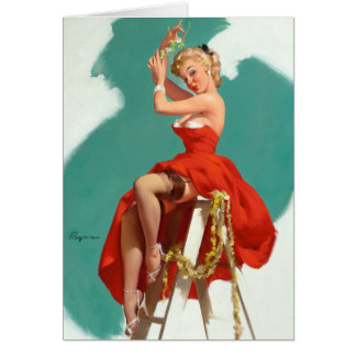 Under the Mistletoe Pin Up Greeting Card