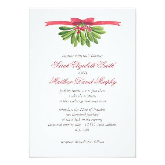 Under the Mistletoe Wedding Invitation