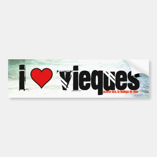 Under the Pier in Esperanza, heart, I, vieques,... Bumper Sticker