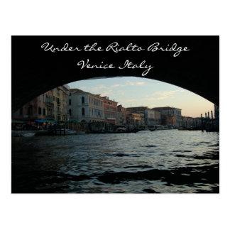 Under the Rialto Bridge Venice Italy Postcard