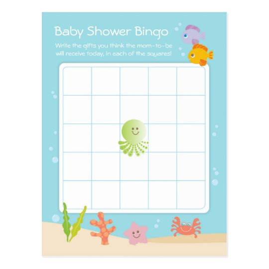 Under the Sea Baby Shower Bingo Game Card