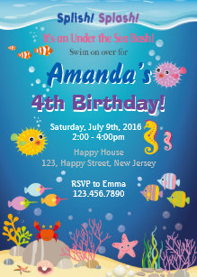 Under the sea birthday party invitations announcements zazzle under the sea birthday invitation stopboris Images