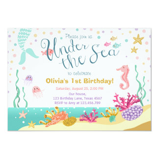 Under the Sea Birthday Invitation Mermaid Purple
