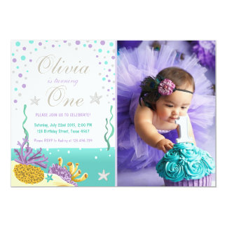 Under the sea birthday invitation Purple Silver