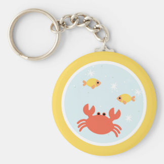 Under the Sea Birthday Party Basic Round Button Key Ring