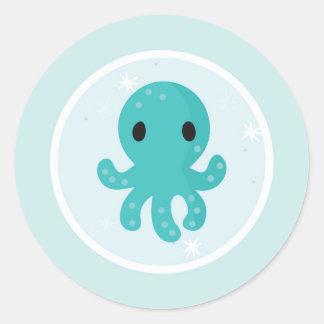Under the Sea Birthday Party Octopus Round Sticker