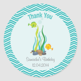 Under The Sea Birthday Thank You Sticker Blue